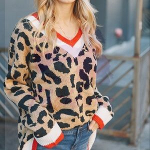 Sweaters - LAST MED/LARGE Leopard Oversized Sweater - RED